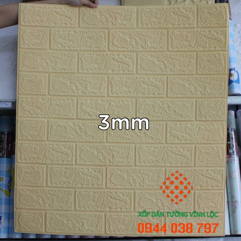 Xốp Dán Tường Giả Gạch Vàng Kem 3mm